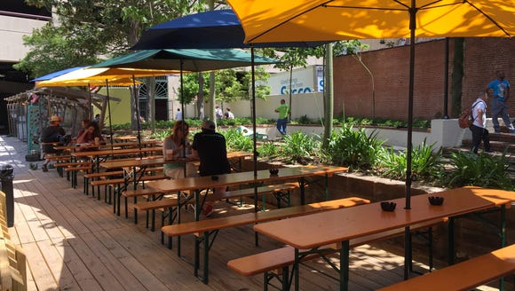 The Wurst Biergarten offers plenty of shaded seating