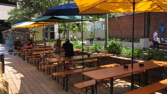 The Wurst Biergarten offers plenty of shaded seating