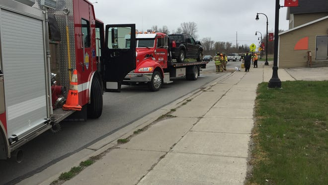 Eastbound 24th Street in Port Huron Township is closed while rescue crews clear a crash scene.