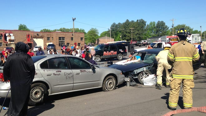Students at Humboldt High School participated in a mock crash at the school Friday.