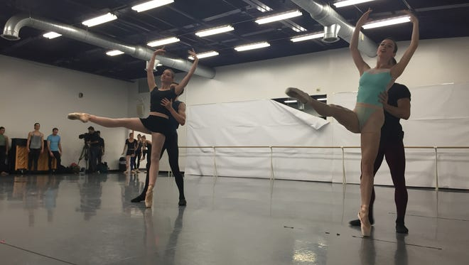 Company dancers from the Rochester City Ballet perform during the group's in-house performance Saturday night.