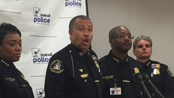 Detroit Police Chief James Craig announces a new crime-fighting initiative to combat violence at Detroit Public Safety Headquarters in Detroit on Apr. 25. Craig's announcement follows the shooting deaths of 2 children and the wounding of a third in Detroit this month.