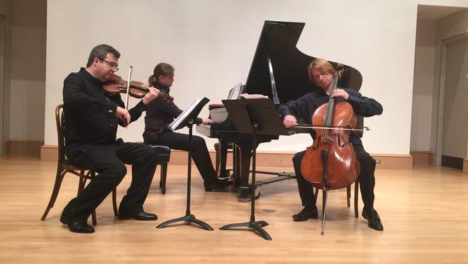 The Hermitage Piano Trio,- Micha Keylin, Ilya Kazantsev and Sergey Antonov, performed for the Montgomery Chamber Music Organization's 55th Anniversary season finale concert.