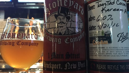 A fresh crowler of the Stoneyard Breweing Company.