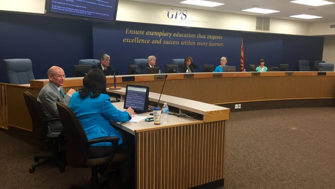 The Gilbert Public Schools board weighs options for a new Gilbert Classical Academy facility on April 26, 2016.