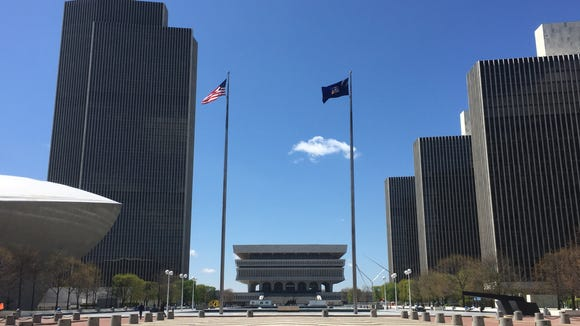 Empire State Plaza in Albany. The Department of Health is headquartered in Corning Tower, the second building from left.