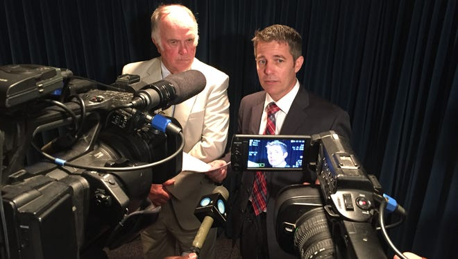 Reps. Johnny Mack Morrow, D-Red Bay and Ed Henry, R-Hartselle, discuss efforts to revive articles of impeachment against Gov. Robert Bentley on April 28, 2016. Henry said he had enough signatures to trigger an investigation into the governor over allegations of his relationship with a former staffer.