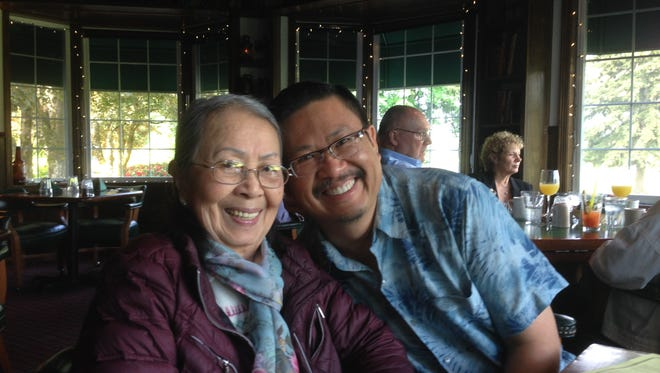 Mom and I and my spouse, Charles Price (not pictured), celebrate her 80th birthday in 2014 at Rudy's at Salem Golf Club.