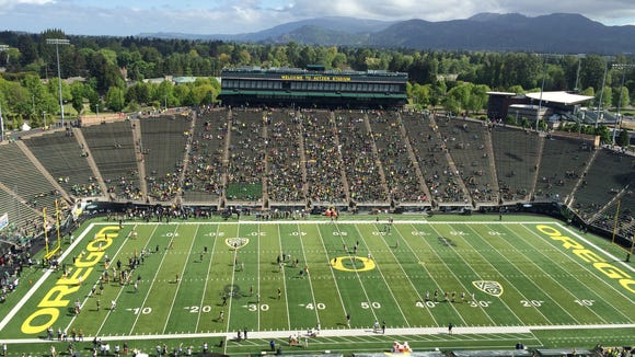 The Oregon football Spring Game is set to begin at about 11 a.m. today at Autzen Stadium in Eugene.