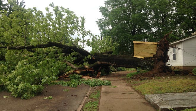 A tree fell on a car on Preston Street and Stonewall Street, causing a power outage to parts of East Jackson.