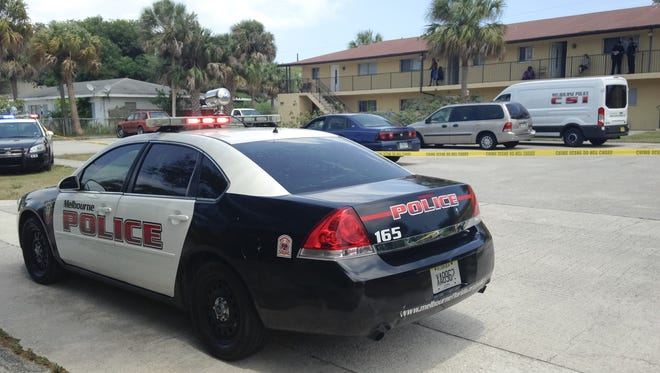 At least six Melbourne police vehicles were on the scene of a reported drive-by shooting in the Eau Gallie area on Monday.