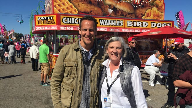 Carnival Eats' host Noah Cappe with SC State Fair's Assistant General Manager, Nancy Smith.