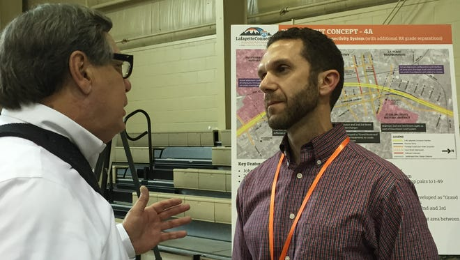 Toby Picard, right, project manager for the Interstate 49 Lafayette connector project and an employee of the Louisiana Department of Transportation and Development, issued an ultimatum to Community Working Group members May 3, 2016.