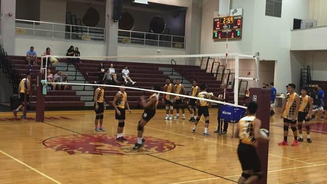 The Father Duenas Friars defeated the St. Paul Warriors in three sets, 25-14, 25-21, 25-11, in the opening round of the IIAAG Boys' Volleyball League playoffs on May 6.