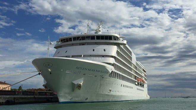 The Seven Seas Navigator docked in Venice, Italy.
