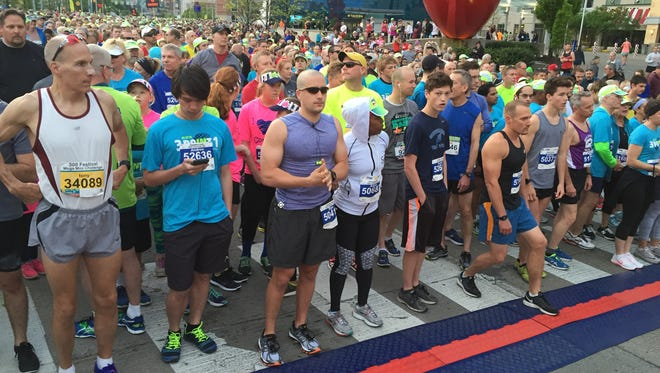 Runners get ready for start of 5k at the OneAmerica 500 Festival Mini-Marathon, Saturday, May 7, 2016.