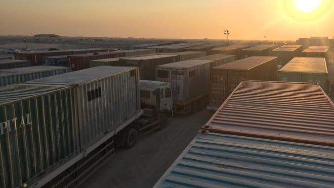 The 379th Expeditionary Logistics Readiness Squadron Transit Shipping Point team coordinated land and sea transport of 550 square tons of scrap metal and war reserve materials from Al Udeid Air Base to the Defense Logistics Agency in Southwest Asia.
