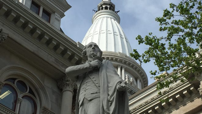A sword was reported stolen Wednesday from a statue outside the Tippecanoe County Courthouse.