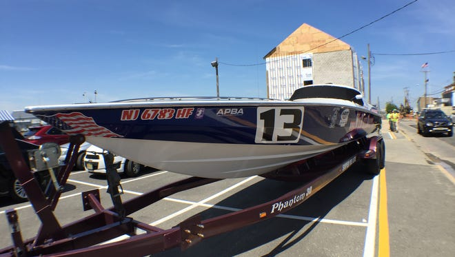 A trailer holds Whoz Your Daddy, one of the boats competing at the Point Pleasant Beach Offshore Grand Prix on May 22.