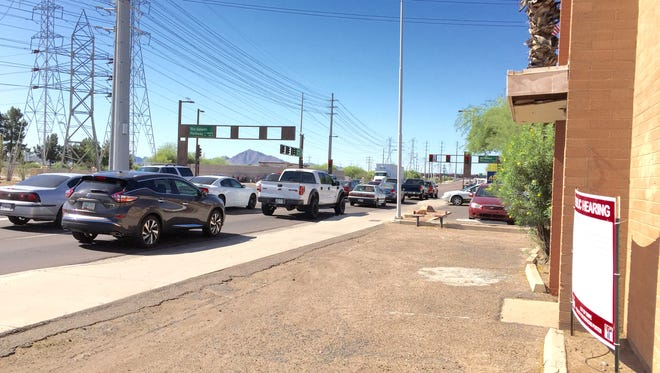 Power lines and the ASU Karsten Golf Course are located across from a building that a medical marijuana dispensary seeks to locate. Tempe officials denied the request because the golf course land technically is zoned to possibly allow homes.