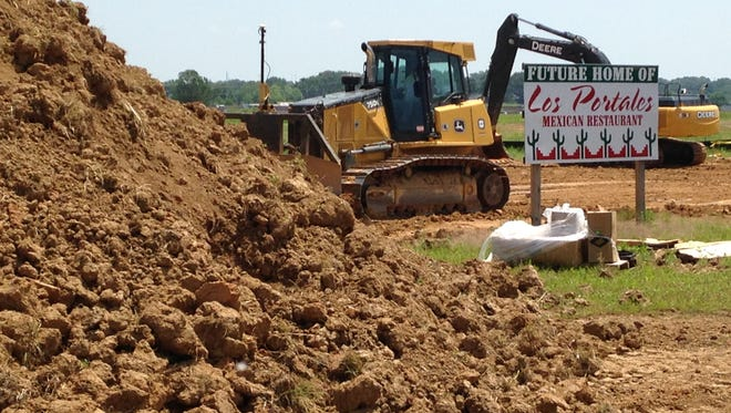 The first sign of a new Los Portales Restaurant is drainage work at 1461 Union University Drive.