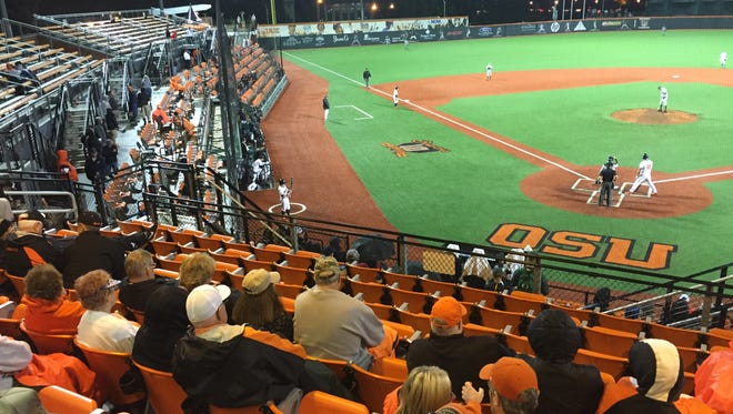 There were few fans on hand in the late innings of Oregon's 7-4 victory at Goss Stadium.