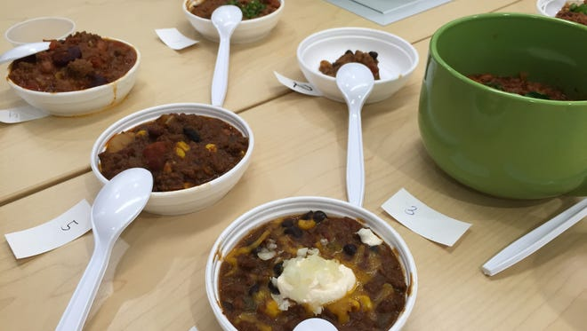 The entries for the GRMC Chili Cookoff. It was blind-judged, meaning the judges did not know whose chili they were tasting.