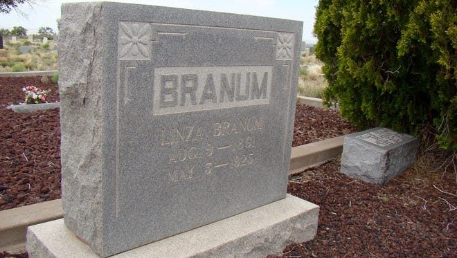 Linza Branum (1861- 1925), along with other Branum kinfolk, rests in peace at the Branum plot in Evergreen Cemetery in Carrizozo.