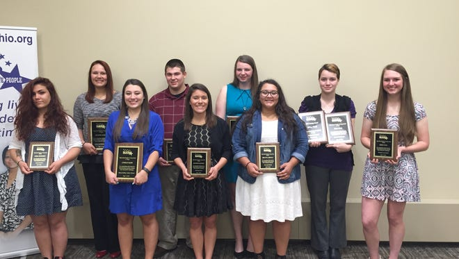 Students from schools in Sandusky County awarded scholarships include: (front, from left) Jarra Humphrey, Vanguard Career and Tech Center; Lindsay Hahn, Bishop Hoffman Catholic Schools; Hannah Santiago, Gibsonburg; Breanna Arriaga, Lakota; and Emily Paul, Woodmore. (Back, from left)  Hunter Andres, Clyde; Caleb Hoskins, Vanguard Career and Tech Center; Jane Kardotzke, Clyde; and Kyla Wax, Ross High School.