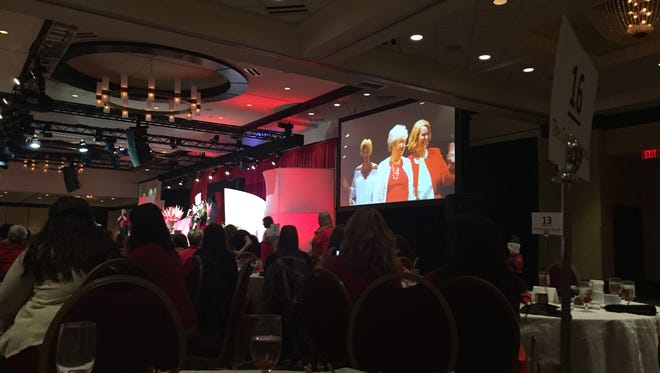 The Go Red for Women luncheon included a fashion show, featuring heart-disease and stroke survivors.