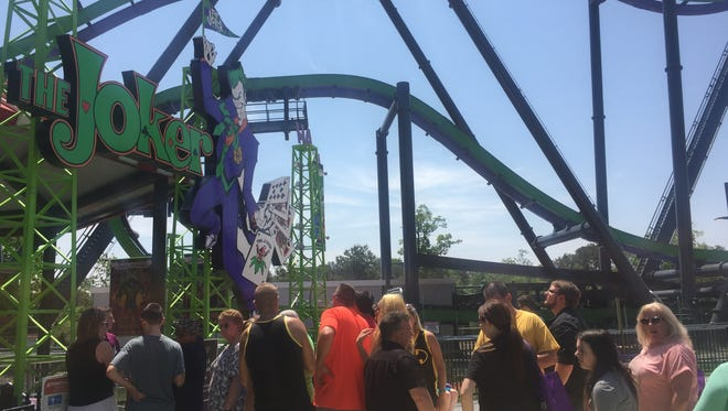 Guests wait on line for The Joker at Six Flags Great Adventure in Jackson on May 26.