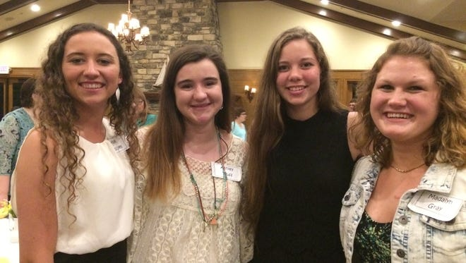 Earning $500 scholarships from the Baileys Harbor Women's Club are Hope Copiskey, left, Ashley Pluff, Lauren Kita and Maddie Gray.