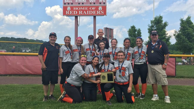 The Pawling High School softball team poses beneath the scoreboard after its win in the Section 1 Class B final over Albertus Magnus on Saturday.