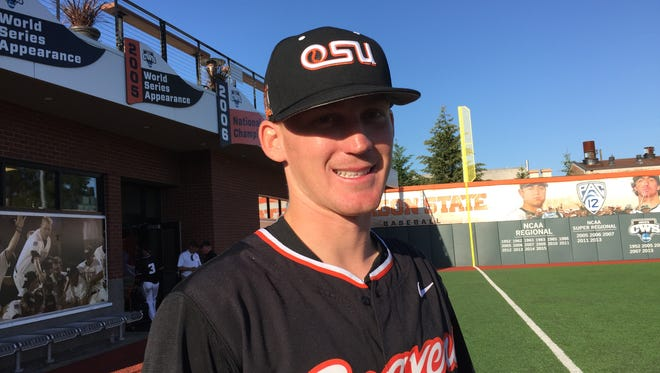 OSU pitcher Bryce Fehmel meets with reporters after his five-hit shutout against UCLA on May 28, 2016.
