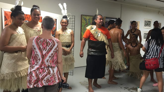 Members of Rako Pasefika, a group from Fiji, showcased their unique culture during the opening of the Festival of Pacific Arts Visual Arts exhibit at the Agana Shopping Center on May 26.