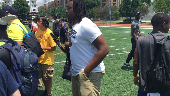 Stone Mountain, Ga. defensive lineman Jalil Irvin watching at satellite camp in Atlanta on June 2, 2016