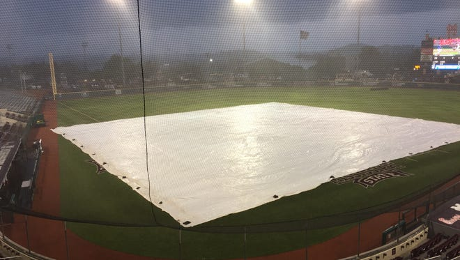 Pictured is Dudy Noble Field in Starkville, Mississippi, as Louisiana Tech and Cal State Fullerton go through a weather day Friday night in the NCAA Regionals.