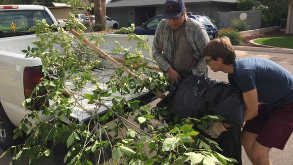 Sawyer (right) and Richard load young trees into the