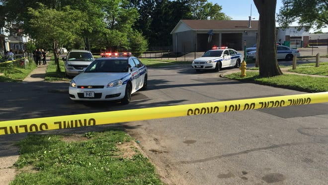 Rochester police on scene of a shooting on Ackerman Street Friday afternoon.