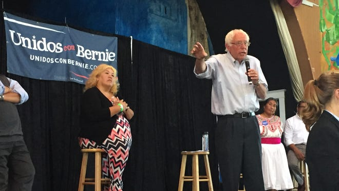 Vermont Sen. Bernie Sanders, who is running for the Democratic presidential nomination, on stage Saturday at the Casa del Mexicano in the Boyle Heights neighborhood of Los Angeles, speaks to attendees about immigration reform.