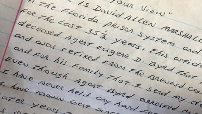 David Allen Marshall, formerly of Brevard and serving a life sentence, recently wrote a letter from prison -- to express condolences to the family of a man who once arrested him.