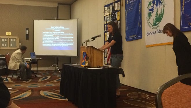Sarah Huisman, an associate policy analyst at the Independence Institute, speaks before a crowd of Foothills Rotary Club members on Tuesday, June 7, at a special presentation on Fort Collins' Climate Action Plan.