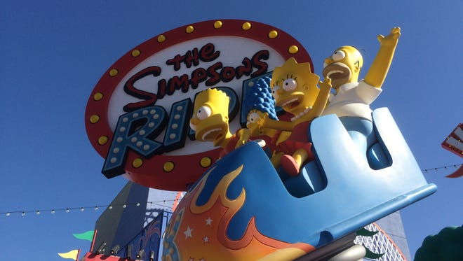 Visitors join America's favorite cartoon family on a motion-simulator journey through Krustyland on The Simpsons Ride at Universal Studios Hollywood.