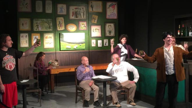 """The cast of Muncie Civic Theatre's """"Picasso at the Lapin Agile"""" rehearses before debut performance on Friday, June 17."""