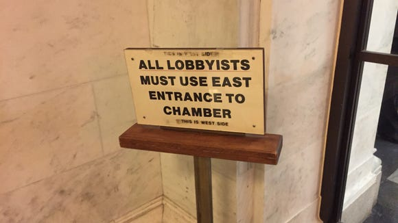 A sign denoting where lobbyists can congregate at the state Capitol in Albany