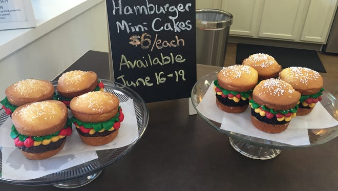 Hamburger-inspired mini cakes at Sugar's Baked Goods and Sweet Treats.