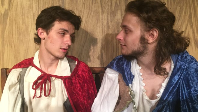 """Stephen Koller as Guildenstern and Riker Hill as Rosencrantz in The Alley Theater's production of Tom Stoppard's play """"Rosencrantz & Guildenstern are Dead."""""""