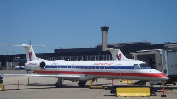An Embraer ERJ-145 regional jet is seen in American's