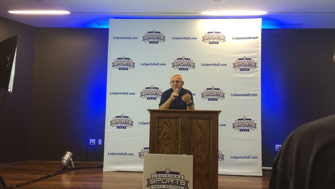 Longtime St. Thomas More Coach Jim Hightower addressed the crowd at Thursday's Louisiana Sports Hall of Fame Induction press conference.