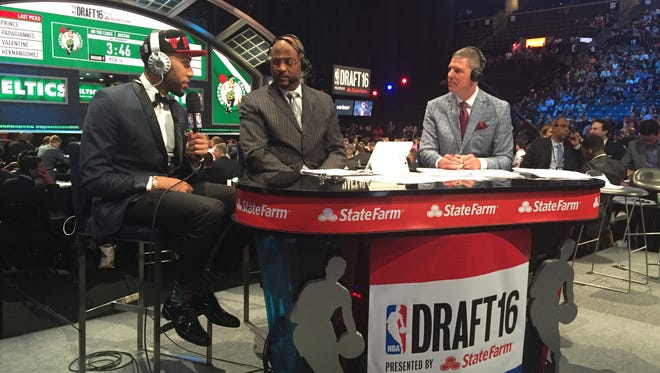 Denzel Valentine wears a Chicago Bulls hat as he's interviewed at the NBA Draft on Thursday in Brooklyn, New York. Valentine became the 10th MSU senior to be taken in the NBA Draft during Tom Izzo's 21 seasons as head coach.